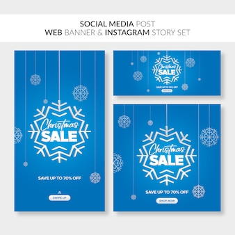 Banner di vendita di natale per web, post sui social media e storia di instagram Vettore Premium