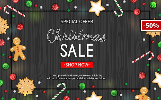 Christmas sale flyer template poster card label background banner on frame offerta speciale stagionale