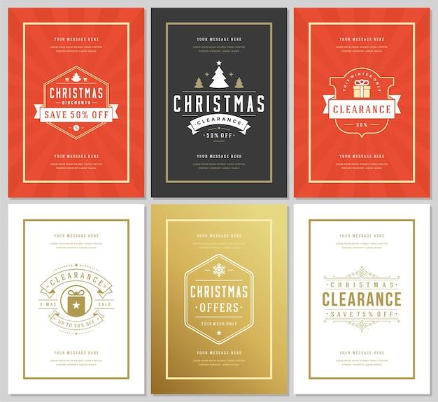 Volantini o banner di vendita di natale impostano offerte di sconto e fiocchi di neve pattern di sfondo con decorazioni ornate. tipografia vintage etichette modelli di design.