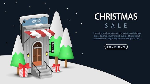 Vendita di natale sull'illustrazione 3d mobile per web o banner