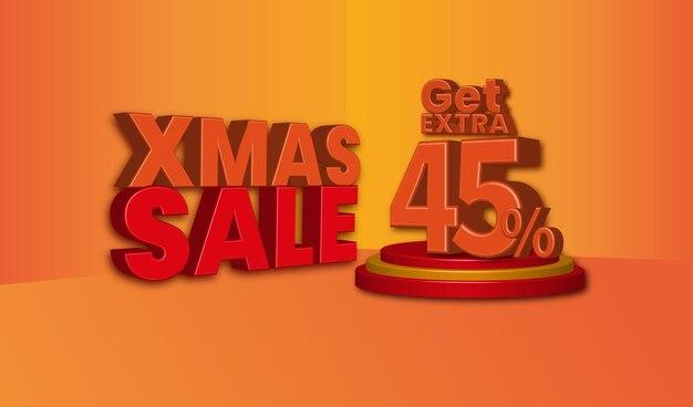 Offerta di vendita di natale testo 3d con il 45 percento di sconto