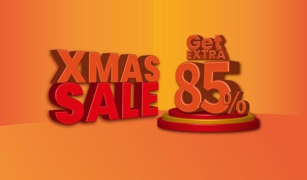 Offerta di vendita di natale testo 3d con uno sconto dell'85 percento