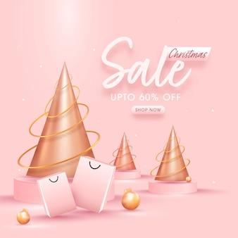 Design di poster di vendita di natale con offerta di sconto del 60%