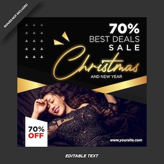 Modello di instagram di promozione di vendita di natale