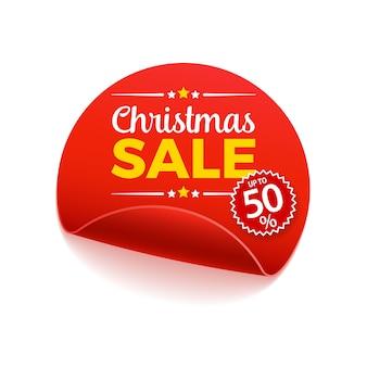 Banner di carta pergamena rotonda di vendita di natale. nastro di carta rosso su sfondo bianco. etichetta di vendita realistica.