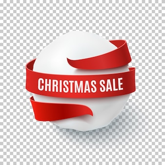 Vendita di natale, palla di neve con fiocco rosso e nastro intorno, su sfondo trasparente. biglietto di auguri, brochure o poster modello.