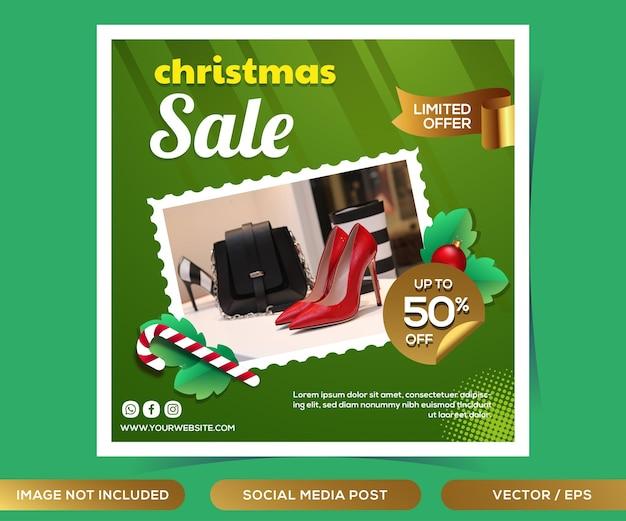 Modello di post sui social media di vendita di natale