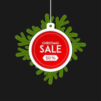 Etichetta di vendita di natale con ornamenti vector