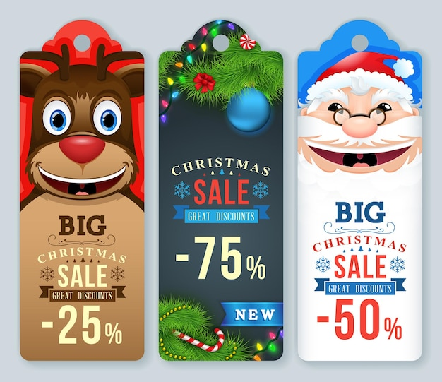Tag di vendita di natale. etichette natalizie con babbo natale e renne.