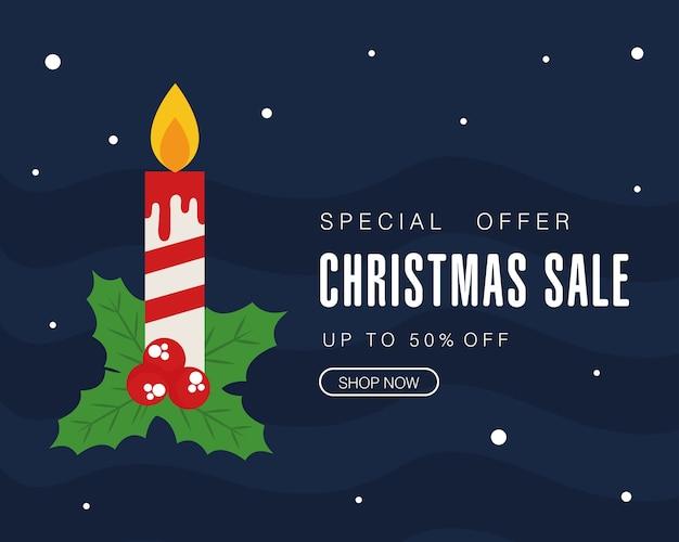 Vendita di natale con candela e foglie di design, tema dell'offerta natalizia.