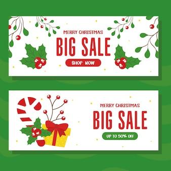 Vendita di natale con caramelle regalo e foglie di design, tema dell'offerta di natale