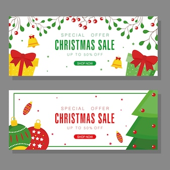 Vendita di natale con sfere di pino e design di regali, tema dell'offerta di natale.