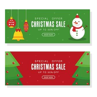 Vendita di natale con disegno pupazzo di neve con sfere di campana di alberi di pino, tema dell'offerta natalizia.