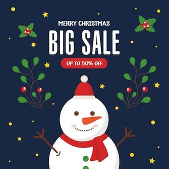 Vendita di natale con pupazzo di neve con design di foglie, tema dell'offerta natalizia.