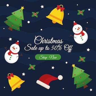 Vendita di natale con alberi di pino e campane di pupazzi di neve, tema dell'offerta natalizia.
