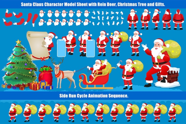 Christmas santa claus character design model sheet con animazione del ciclo di camminata e sincronizzazione labiale