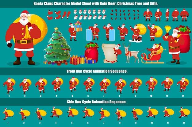 Christmas santa claus character design model sheet con ciclo di camminata, animazione del ciclo di corsa e sincronizzazione labiale