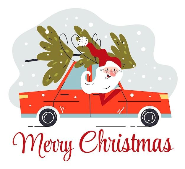 Natale babbo natale alla guida di un'auto con illustrazione grafica piatta della carta di pino dell'albero