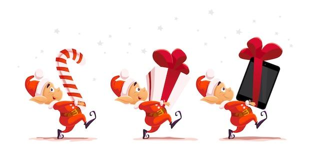 Ritratto di personaggio elfo di babbo natale di natale. illustrazione. felice anno nuovo, elemento di buon natale. buono per carta di congratulazioni, banner, flayer, depliant, poster.