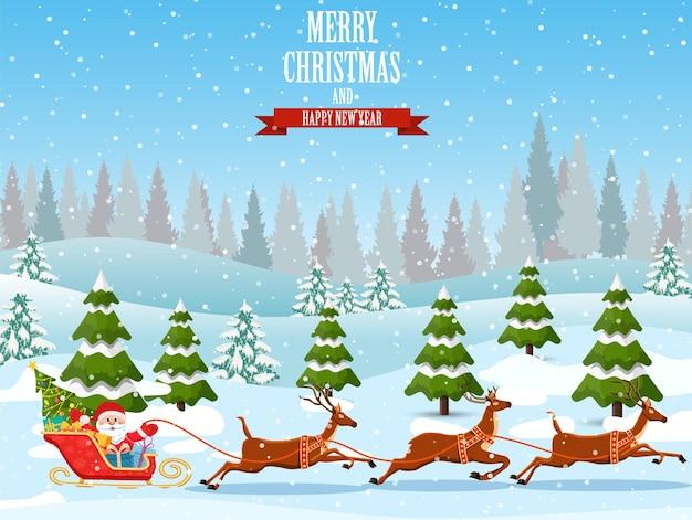 Natale babbo natale cavalca la slitta trainata da renne.