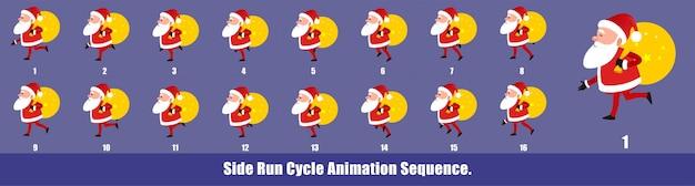 Christmas santa claus run cycle animation aequence