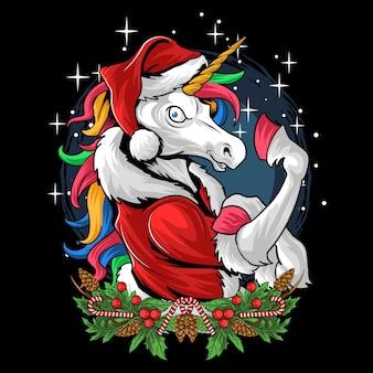 Natale babbo natale unicorno capelli color arcobaleno mostra i suoi muscoli