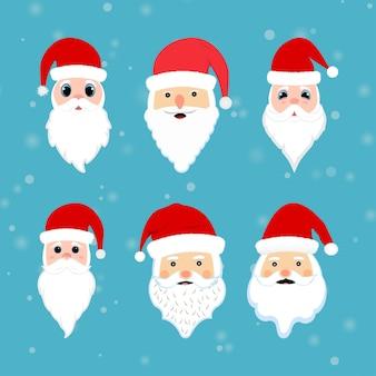Elemento di facce di babbo natale con occhi carini. collezione di facce di babbo natale su uno sfondo di neve che cade. collezione di adesivi per il viso di babbo natale con barba, baffi e cappelli invernali.