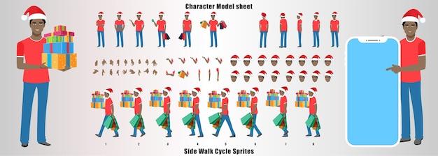 Christmas santa man character design model sheet con animazione del ciclo di camminata e sincronizzazione labiale