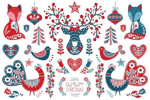 Collezione di arte popolare scandinava natalizia