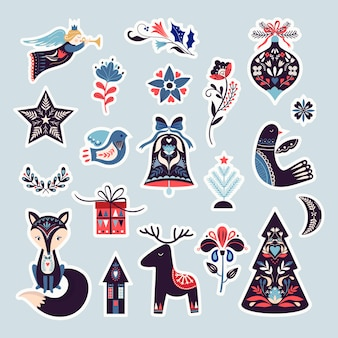 Collezione di adesivi scandinavi natalizi