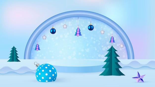 Scena di natale su sfondo blu con podio, albero di natale e palle di natale. vetrina per la presentazione del prodotto. illustrazione vettoriale