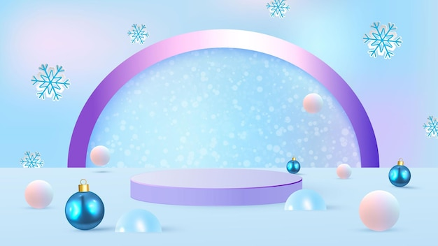 Scena di natale su sfondo blu con podio, derive, albero di natale e palle di natale. vetrina per la presentazione del prodotto. illustrazione vettoriale