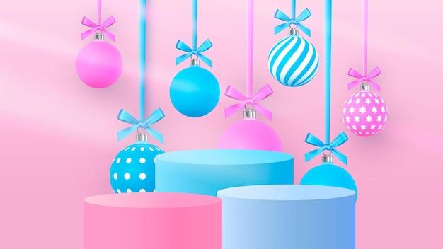 Scena di natale su uno sfondo rosa con palline di natale appese. podio cilindrico per la presentazione del prodotto. illustrazione vettoriale