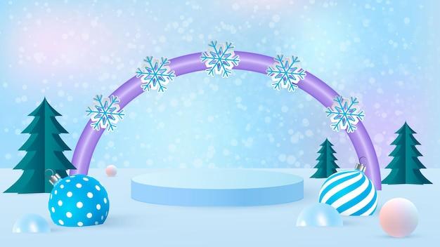 Scena di natale per la presentazione del prodotto su sfondo blu con arco lilla.alberi di natale, decorazioni di capodanno e podio.illustrazione vettoriale