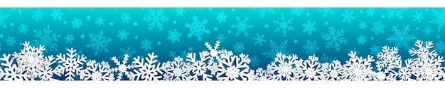 Banner di natale senza soluzione di continuità con fiocchi di neve bianchi con ombre su sfondo azzurro