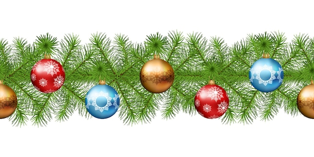 Ghirlanda di natale senza soluzione di continuità del ramo di un albero di abete con decorazioni