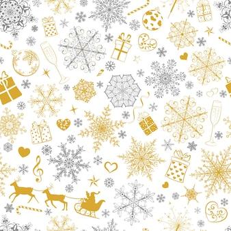 Modello senza cuciture natalizio di fiocchi di neve grandi e piccoli e vari simboli natalizi, grigi e dorati su bianco
