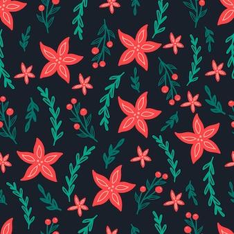 Reticolo senza giunte di natale su sfondo nero con fiori poinsettia, rami di pino e bacche. sfondo