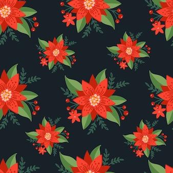 Natale seamless pattern su sfondo nero