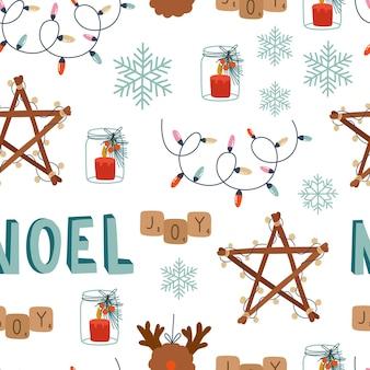 Natale seamless pattern carino elementi di design su sfondo bianco cartone animato swethertoys