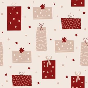 Design senza cuciture di natale con regali. illustrazione vettoriale.