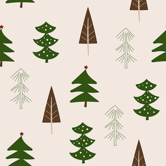 Design senza cuciture di natale con alberi. illustrazione vettoriale.