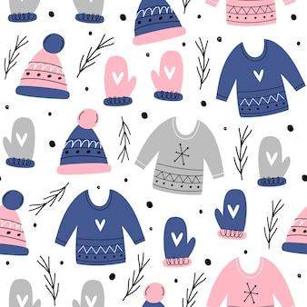 Natale seamless pattern. semplice disegnato a mano.
