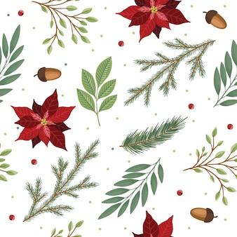 Reticolo senza giunte di natale. ramoscelli di pino, bacche rosse, albero di natale. vacanze natalizie invernali.
