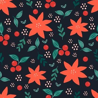 Reticolo senza giunte di natale su sfondo rosa con fiori di poinsettia, rami di pino e bacche. sfondo