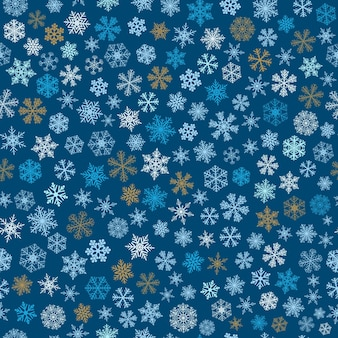 Modello senza cuciture natalizio di piccoli fiocchi di neve, azzurro, marrone e bianco su blu