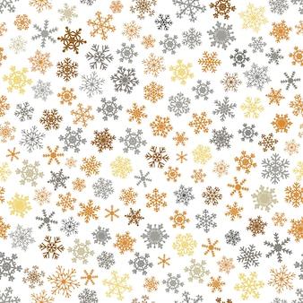 Reticolo senza giunte di natale di fiocchi di neve, grigio e marrone su sfondo bianco.