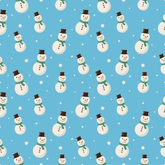 Pupazzo di neve senza cuciture di natale isolato su priorità bassa blu