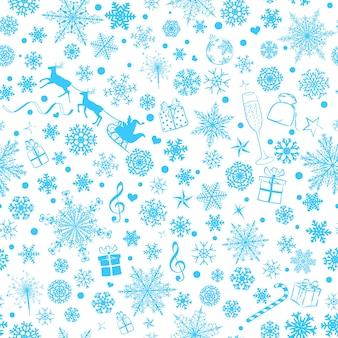 Reticolo senza giunte di natale di vari fiocchi di neve e simboli di festa, azzurro su sfondo bianco