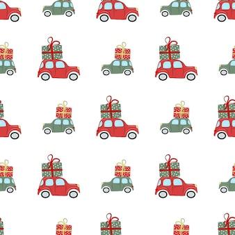 Modello senza cuciture di natale con auto e regali l'illustrazione è ottima per la carta da imballaggio